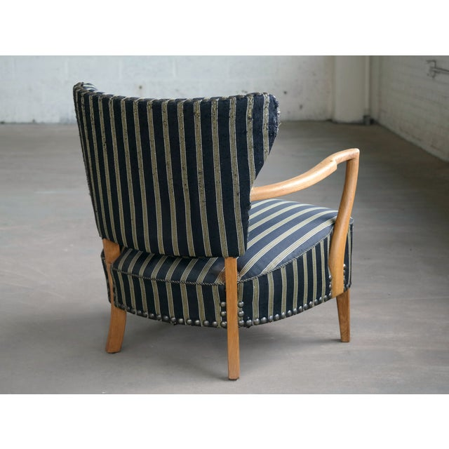 Otto Schulz Otto Schulz Style Lounge Chair in Oak With Brass Tacks Danish Midcentury For Sale - Image 4 of 11