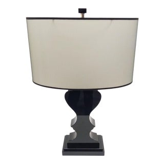 Robert Abbey Black Lucite Lamp For Sale