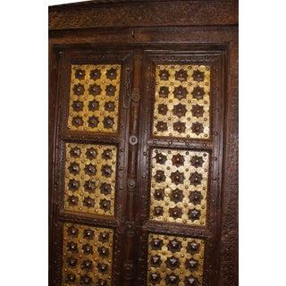 Antique Indian Temple Door Dark Brown Golden Brass Doors Preview