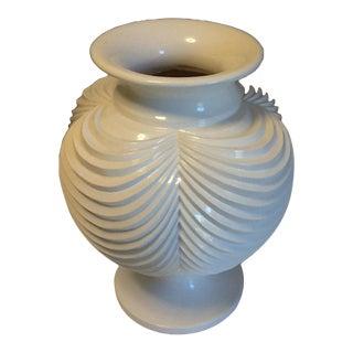 Resin/Bamboo White Lacquered Art Deco Pedestal Vase For Sale
