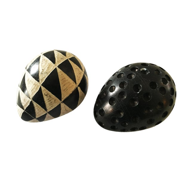 African Carved Black & White Soapstone Eggs S/2 For Sale
