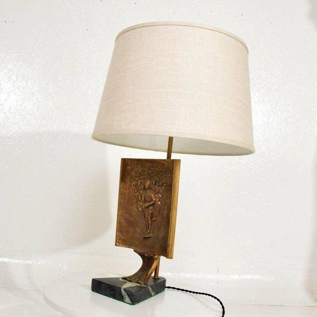 Luxury Mid Century Modern Table Lamp With Italia Bronze Brutalist