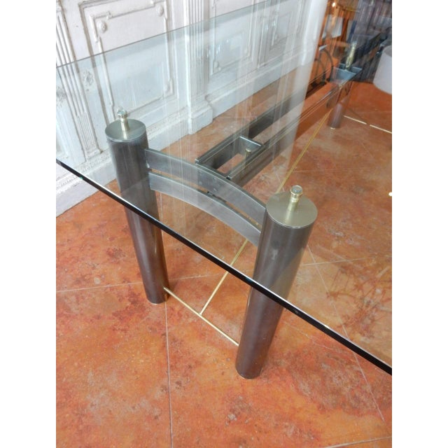 Mid-Century Modern Mid-Century Modern Glass and Metal Dining Table For Sale - Image 3 of 8