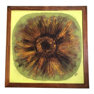 Original 1960's Pop Art Sunflower Painting Signed For Sale