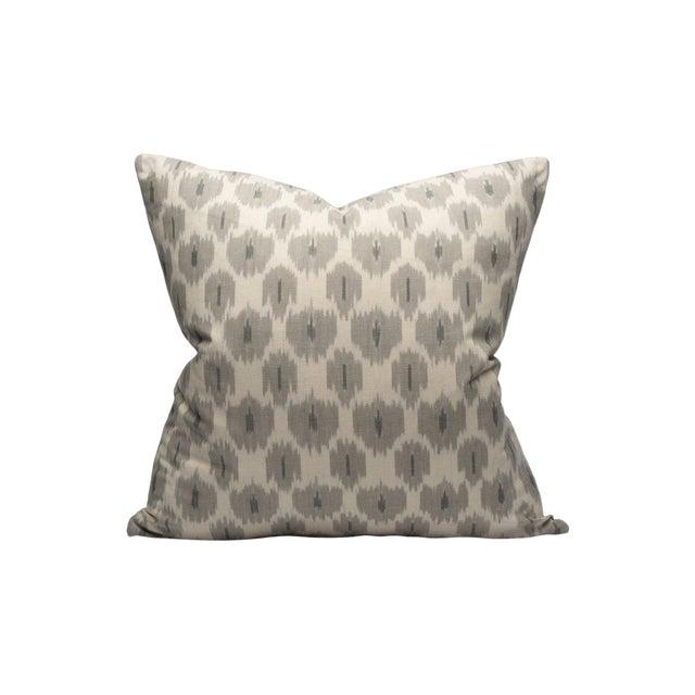 Scalamandre Amara Ikat Pillow, Stone For Sale