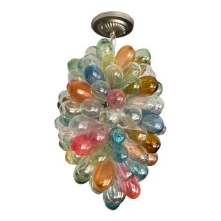 Stained Hand-Blown Glass Colorful Light Fixture For Sale