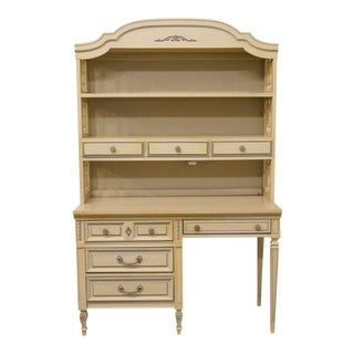 """20th Century French Provincial Dixie 46"""" Student Desk with Bookcase Hutch For Sale"""