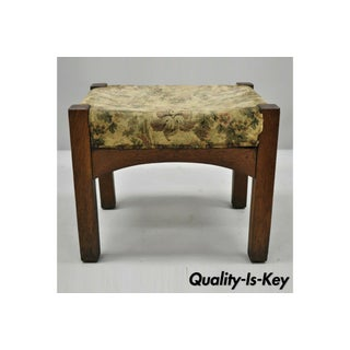 Antique Mission Oak Arts & Crafts Solid Oak Wood Stickley Style Stool Preview