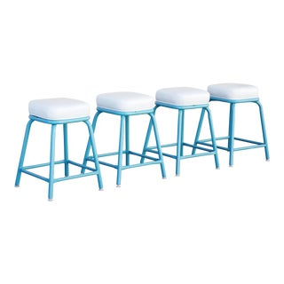 Machine Age Industrial Stools in Tiffany Blue - Set of 4