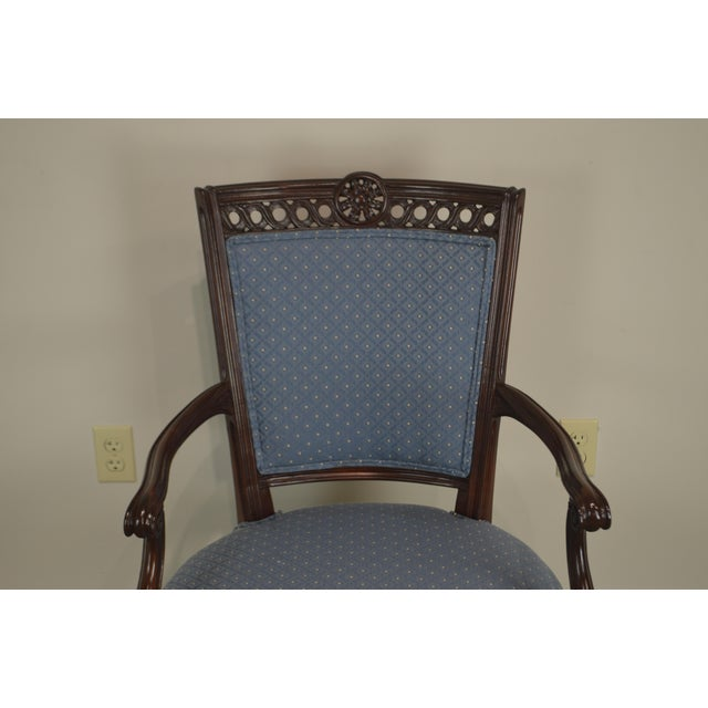 Regency Style Vintage Pair of Carved Mahogany Blue Upholstered Arm Chairs For Sale - Image 4 of 13