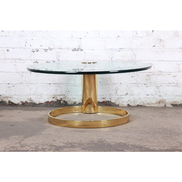 Hollywood Regency Leon Rosen for Pace Collection Cantilevered Brass and Glass Coffee Table For Sale - Image 3 of 9
