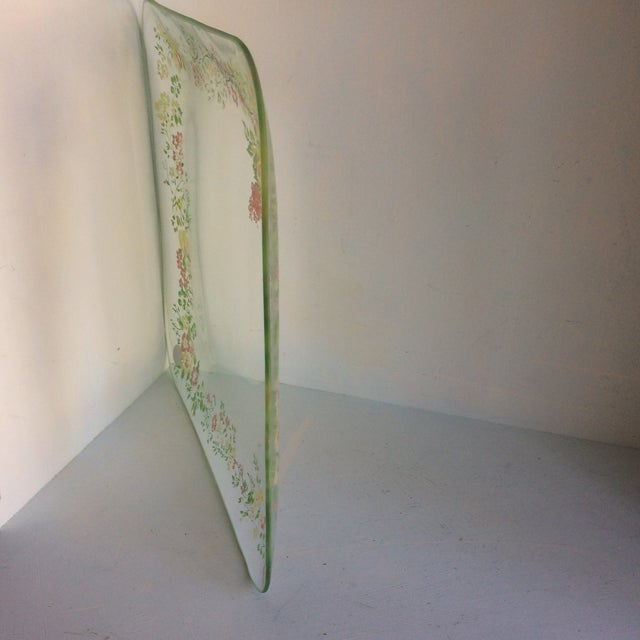 Glass Dorothy Thorpe California Wild Flower Square Serving Platter For Sale - Image 10 of 13