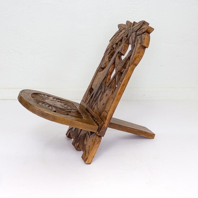 1950s Childs Hand Carved African Chair | Two Piece Palaver Camp Chair For Sale - Image 5 of 11