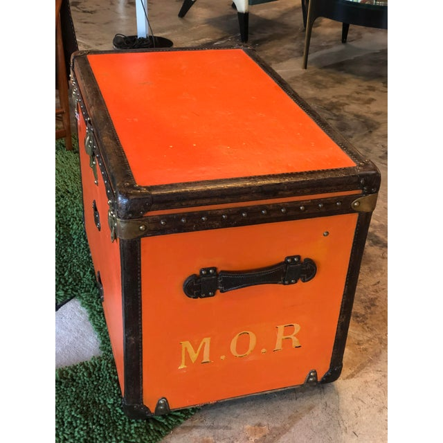 Art Deco Rare Louis Vuitton Orange Trunk With Initials m.o.r, Circa 1930s For Sale - Image 3 of 13