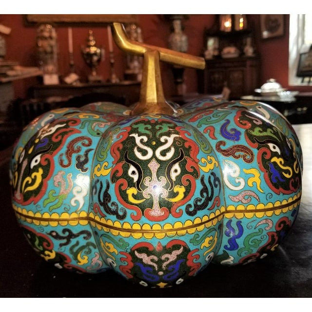 Presenting a beautiful and very high quality Large Chinese Cloisonne Pumpkin Lidded Box . Early 20th Century….. circa 1910...