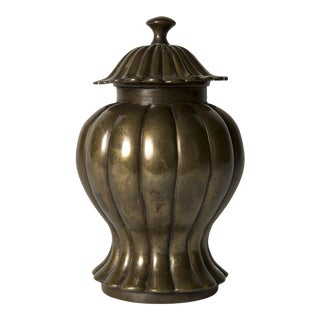 17th Century Chinese Bronze Baluster form Vase and Cover For Sale