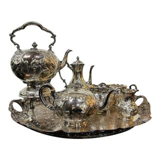 Late 19th Century English Silver-Plate Tea Service - 7 Pieces For Sale