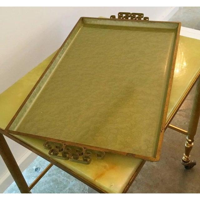 Signed Mid Century Modern Moire Glaze Kyes Enamel Serving Tray w/ Brass Greek Key Handles - Image 5 of 6