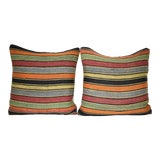 Image of Pair Turkish Kilim Lumbar Pillows, Striped Wool Cushion Cover 16'' X 16'' (40 X 40 Cm) For Sale