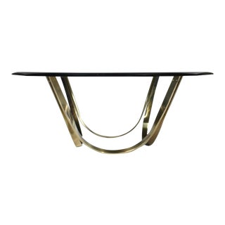 Brass Steel and Glass Tri-Mark Cocktail Table