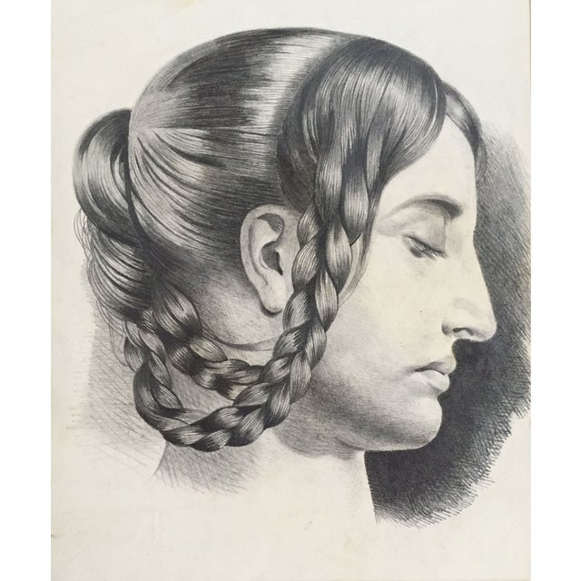 French Antique French Master Drawing of Woman in Braids For Sale - Image 3 of 5