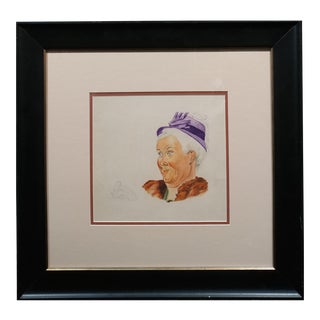 Attributed to Norman Rockwell - Granny Portrait Study -Watercolor Painting