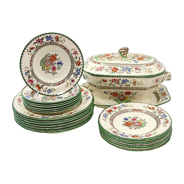 Antique Spode Chinese Rose Soup / Dinner Set - 23 Pieces For Sale