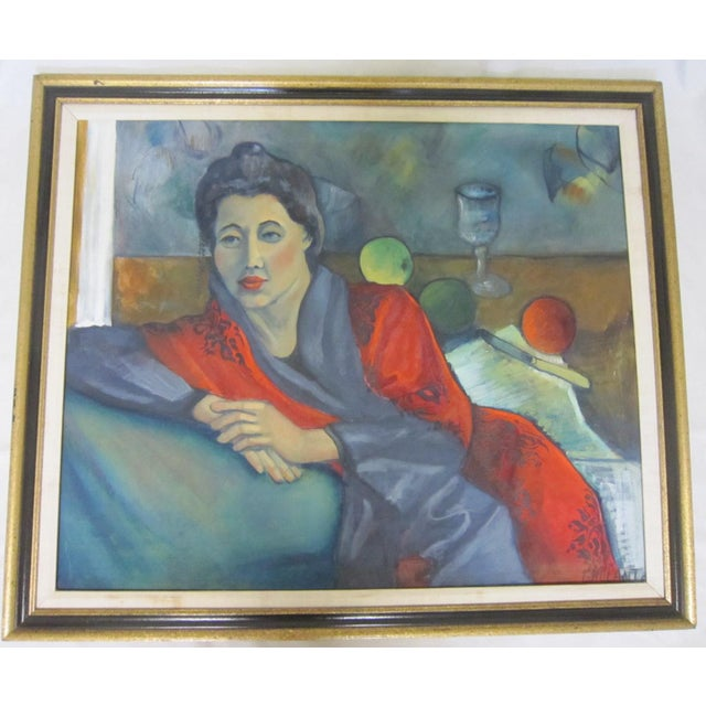 """Fabulous oil on canvas painting of a woman in repose. Vivid blue and red combination, signed """"Gallant"""" in the lower right..."""