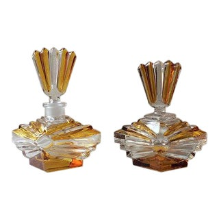 Antique French Art Deco Crystal Perfume Bottle and Powder Box Vanity Set - 2 Pc.