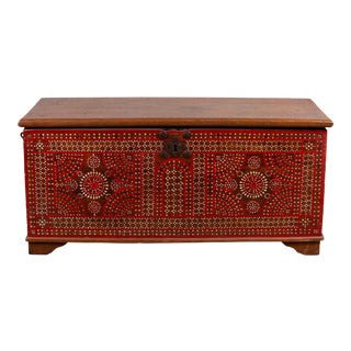 Antique Madura Blanket Chest with Red Geometric Decor and Inlaid Mother-of-pearl For Sale