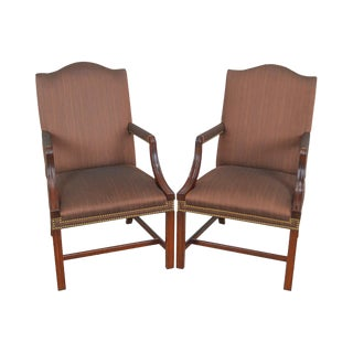 Hickory Chair Chippendale Style Mahogany Pair of Library Arm Chairs For Sale
