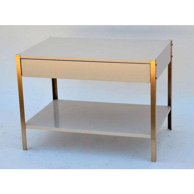 2010s The 'Laque' Ivory Lacquer and Brass Night Stand For Sale - Image 5 of 6