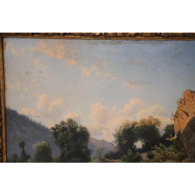 Impressionism 19th Century Antique Italian Oil Painting on Canvas Impressionist Landscape For Sale - Image 3 of 9