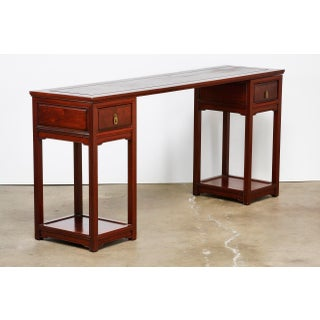 Mid-Century Chinese Rosewood Three Part Pedestal Desk Preview
