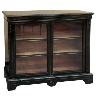 19th Century French Napoleon III Period Ebonized Barrister's Bookcase For Sale