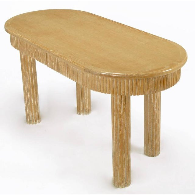 Custom Oval Cerused Oak Writing Desk with Reeded Legs and Apron - Image 3 of 8