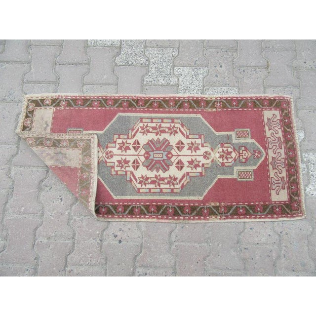 Turkish 1960s Turkish Mini Wool Carpet For Sale - Image 3 of 4