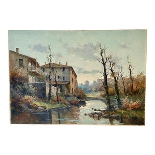 Vintage Italian Impressionist Landscape Sunset Oil by Ercole Magrotti For Sale