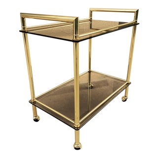 Italian Brass With Smoked Glass Bar Cart For Sale