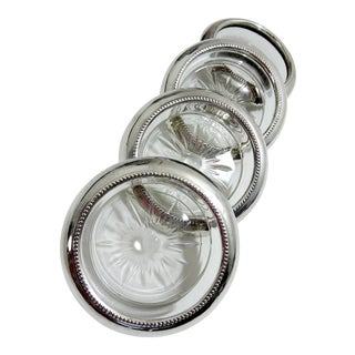 Traditional Sterling Silver and Starburst Glass Coasters - Set of 4 by Frank M Whiting For Sale