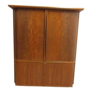Vintage Danish Modern Teak Tambour Cabinet For Sale