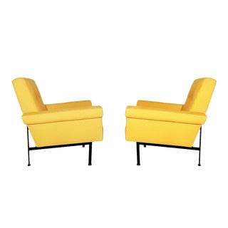 1960s Pair of Cubist Armchairs, Wrought Iron, Yellow Cotton Upholstery - Italy For Sale