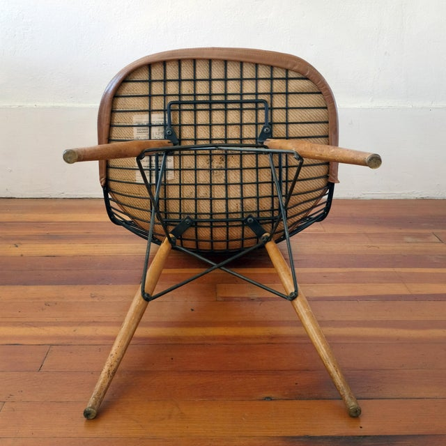 Eames Dkw-2 Dowel Wire Chair With Leather Bikini Cover For Sale - Image 10 of 13