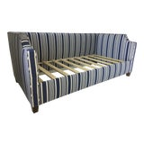 Image of Custom Upholstered Twin Daybed With Curved Arms and Back in Ralph Lauren Striped Fabric in Blue For Sale