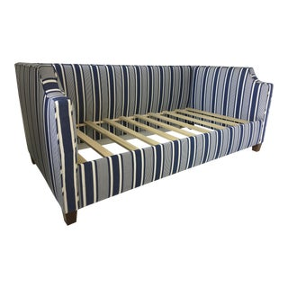Custom Upholstered Twin Daybed With Curved Arms and Back in Ralph Lauren Striped Fabric in Blue For Sale