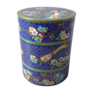 19th Century Antique Chinese Cloisonné Stacking Enamel and Brass Container Decorated With Flowers and Birds For Sale