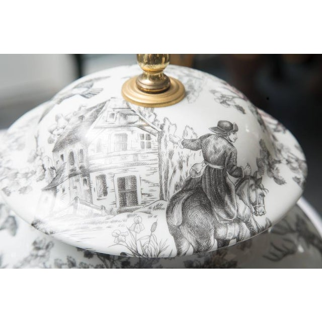 1990s Black and White French Toile Motif Lamp For Sale - Image 5 of 8