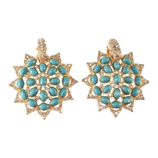 k.j.l. Faux Turquoise Clear Rhinestone Earrings Kenneth Jay Lane For Sale
