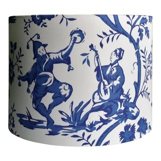 Cobalt Blue White Cotton Duralee Suri Fabric Drum Lampshade For Sale
