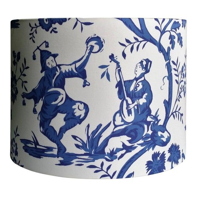 Cobalt Blue White Cotton Duralee Suri Fabric Drum Lampshade For Sale
